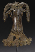African: , Owo (Nigeria). Ram's Head Pendant Mask. Cast Brass or Bronze, ca.18th century. Height: 5 7/8 inches Width: 3 ¾ inches De...