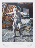 "Explorers:Space Exploration, Alan Bean Signed Print ""The Hammer And The Feather""..."