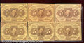 Fractional Currency: , 1862-1863, 5c Second Issue, Jefferson Stamp, Fr-1230, 6 pieces,...