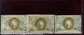 Fractional Currency: , 1863-1867, 5c Second Issue, Washington, Fr-1233, 3 pieces, AU-C...