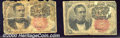 Fractional Currency: , 1874-1876, 10c Fifth Issue, Meredith, Fr-1265, Two Pieces, AG/G...