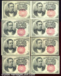 Fractional Currency: , 1874-1876, 10c Fifth Issue, Meredith, Fr-1265/1266, 8 pieces, C...