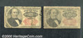 Fractional Currency: , 1874-1876, 25c Fifth Issue, Walker, Fr-1308/9, Two pieces, Good...