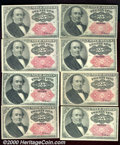 Fractional Currency: , 1874-1876, 25c Fifth Issue, Walker, Fr-1309, 8 pieces, AU-CU. 8...