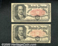 Fractional Currency: , 1874-1876, 50c Fifth Issue, Crawford, Fr-1381, Two Pieces, VG-F...