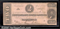 Confederate Notes:1863 Issues, 1863 $2 Judah P. Benjamin, T-61, Fine. There is some mild soili...