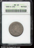 1893-S 25C MS 63 ANACS. The obverse is toned olive-gray with lighter highlights at the peripheries. The luster is muted...