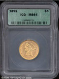 Additional Certified Coins: , 1892 $5