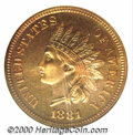Proof Indian Cents: , 1881 1C, RD