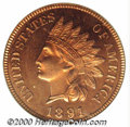 Proof Indian Cents: , 1891 1C, RD