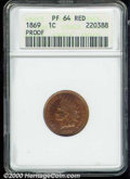 Proof Indian Cents: , 1869 1C, RD