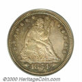 Proof Seated Quarters: , 1854 25C ARROWS