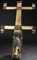 African: , Dogon (Mali). Kanaga Mask. Wood, Pigment, fiber, nail. Height: 42 inches Width: 23 ½ inches Depth: 8 ¼ inches. The m...