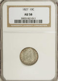 Bust Dimes: , 1827 10C AU58 NGC. JR-11, R.2. A slate-gray Bust dime with a smoothand partly lustrous appearance. The centers show modera...