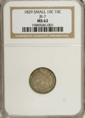 Bust Dimes: , 1829 10C Small 10C MS62 NGC. JR-7, R.1. Rich lilac-gray andolive-brown toning consumes this satiny and precisely struck Bu...