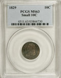 Bust Dimes: , 1829 10C Small 10C MS63 PCGS. JR-7, R.1. Apple-green, lilac, andchestnut-gold patina embraces this gently shimmering and u...