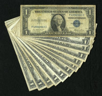 $1 Silver Certificate Mixture including 1935E (4); 1935G No Motto; 1957 (3); 1957*; 1957B (2); and 1957B*. The notes gra...