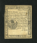 Colonial Notes:Pennsylvania, Pennsylvania April 10, 1777 4d Extremely Fine. This is a sharplyprinted example of this small change note that has a very b...