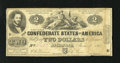 Confederate Notes:1862 Issues, T42 $2 1862. This note has nice edges for the grade. Fine....