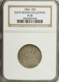 Seated Quarters: , 1866 25C Motto Fine 15 NGC. An attractive specimen with tan-graytoning, enhanced by faint gold and blue accents in the obv...