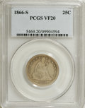 Seated Quarters: , 1866-S 25C VF20 PCGS. This is a pleasing example for the grade,evenly worn across both sides with dove-gray toning and str...