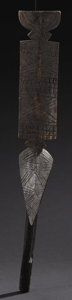 African: , Bwa? (Burkina Faso). Dance Wand. Wood, traces of pigment. Length: 33 ½ inches Width: 4 ¾ inches Depth: 11 ¾ inches. Clea...