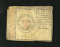 Colonial Notes:Continental Congress Issues, Continental Currency January 14, 1779 $1 Fine. This bright note hasfaded penmanship and a small piece of paper missing from...