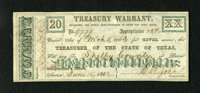 Austin, TX- State of Texas $20 Mar. 5, 1863 Criswell TW-26 Medlar 131 Olson 1861 This is a well preserved warrant made o...