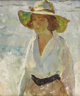 CHARLES W. HAWTHORNE (American 1872-1930) Untitled (Woman With Hat) Oil on canvas 19 x 23 inches (48.3 x 58.4 cm)