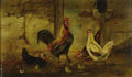 Fine Art - Painting, American:Antique  (Pre 1900), WILLIAM BAPTISTE BAIRD (American 1847-1899). Untitled (Roosterand Hen). Oil on canvas laid on board. 9-1/4 x 15-1/2 in...