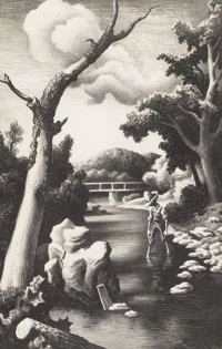 THOMAS HART BENTON (American 1889-1975) Shallow Creek, 1939 Lithograph 14-3/8 x 9-3/8 inches (36.2 x 23.5 cm) Ed. 2