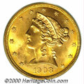 Liberty Half Eagles: , 1908 $5 LIBERTY