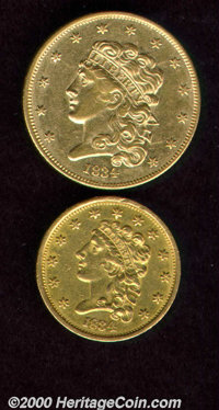 1834 $2 1/2 Classic quarter eagle AU 50 Cleaned, both sides retain ample original color despite having been cleaned at o...