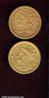 1839-C $2 1/2 VF 20 Cleaned, the copper-gold surfaces reveal wispy hairlines throughout and isolated striking incomplete...