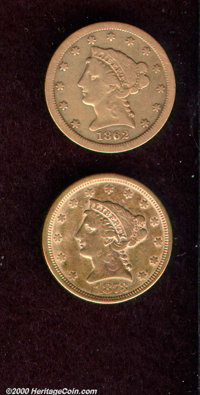 1862-S $2 1/2 Fine 12 Cleaned, an affordable, reddish-gold example of this low mintage (8,000 pieces) S-mint quarter eag...