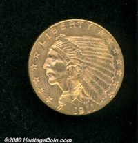 1911 $2 1/2 MS 64. Indian quarter eagles are a rare find in this condition because of the incuse design. Bringing the fi...