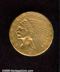 1911-D $2 1/2 Weak D AU 50 Damaged, Whizzed. This evenly worn example is tinted in orange-gold and green-gold shades. Th...