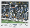 """Football Collectibles:Balls, """"Doomsday Defense"""" Signed Lithograph. During the 1970s, the Dallas Cowboys enlisted an imposing corps of players collective..."""