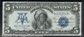 1899 $5 Silver Certificate, Fr-281, AU. What appears to be a Gem is actually a very attractive AU example of this popula...