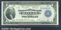 1918 $1 Federal Reserve Bank Note (Dallas), Fr-740, XF. This popular Dallas district note faces up as an AU, but vertica...