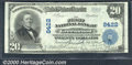 First National Bank of Greenwood, IN, Charter #8422. 1902 $20 Third Charter Plain Back, Fr-652, VF-XF. This scarce Third...