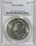 Eisenhower Dollars: , 1972-D $1 MS65 PCGS. PCGS Population (967/260). NGC Census: (637/262). Mintage: 92,548,512. Numismedia Wsl. Price for NGC/P...