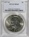 Eisenhower Dollars: , 1977-D $1 MS65 PCGS. PCGS Population (898/248). NGC Census: (1508/119). Mintage: 32,983,006. Numismedia Wsl. Price for NGC/...