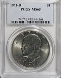 Eisenhower Dollars: , 1971-D $1 MS65 PCGS. PCGS Population (1912/699). NGC Census: (1047/527). Mintage: 68,587,424. Numismedia Wsl. Price for NGC...