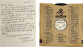 Music Memorabilia:Recordings, Bill Ward and His Dominoes Promo 78 and Handwritten Letter (King1364, 1954). The legendary R&B group had first recorded in ...(Total: 1 Item)