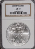 Modern Bullion Coins: , 2004 $1 Silver Eagle MS69 NGC. PCGS Population (7915/0). NumismediaWsl. Price for NGC/PCGS coin in MS6...