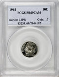 Proof Roosevelt Dimes: , 1964 10C PR69 Cameo PCGS. PCGS Population (288/1). NGC Census:(351/0). Numismedia Wsl. Price for NGC/PCGS coin in PR69: $...