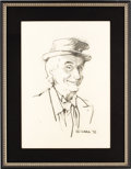 "Movie/TV Memorabilia:Original Art, Sid Caesar Sketch by Cara From Beverly Hills CENSORED Club. A 22"" x15.5"" charcoal and white pastel sketch of funnyman Sid C... (Total:1 Item)"