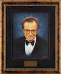 "Movie/TV Memorabilia:Original Art, Larry King CENSORED Club Portrait. A 16"" x 20"" oil portrait of theaward-winning television and radio host by Picarola, from...(Total: 1 Item)"