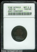 1803 1/2 C --Bent, Scratched--ANACS. Fine Details, Net Good 6. B-3, C-3, R.1. The lower obverse appears to have been ben...